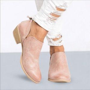 Shoes - Blush pink vegan leather booties